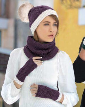 کلاه و شال گردن رینگی و دستکش - بادمجانی - محیطی