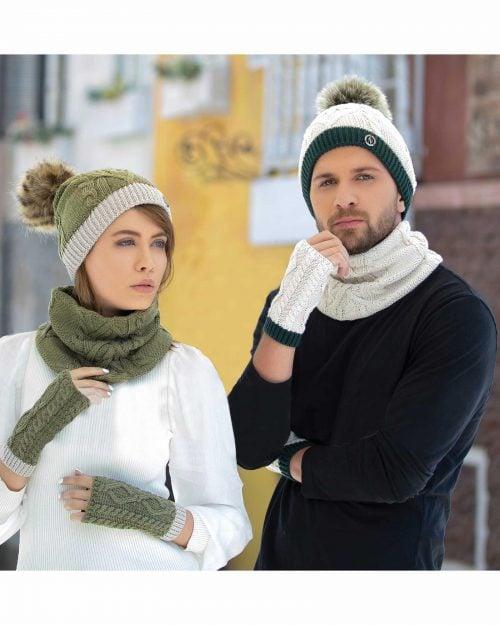 کلاه و شال گردن رینگی و دستکش - محیطی
