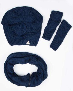 کلاه و شال گردن زیپ دار و دستکش بدون انگشت - سرمه ای - رو به رو