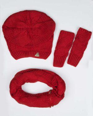 کلاه و شال گردن زیپ دار و دستکش بدون انگشت - قرمز - رو به رو