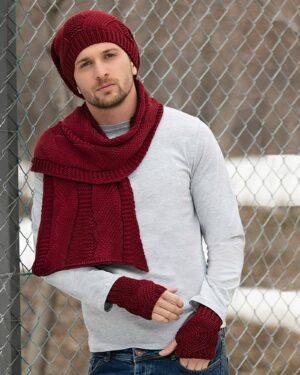 کلاه و شال گردن زیپ دار و دستکش بدون انگشت - قرمز - محیطی مردانه
