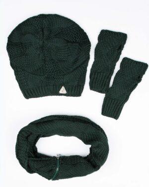 کلاه و شال گردن زیپ دار و دستکش بدون انگشت - یشمی - رو به رو