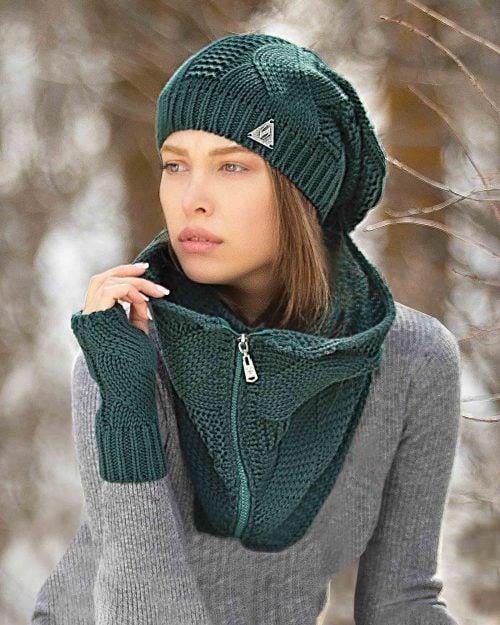 کلاه و شال گردن زیپ دار و دستکش بدون انگشت - یشمی - محیطی زنانه