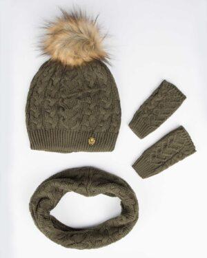 کلاه و شال گردن و دستکش بافت ساده بچه گانه - زیتونی سیر - رو به رو