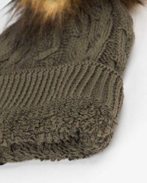 کلاه و شال گردن و دستکش بافت ساده بچه گانه - زیتونی سیر - کلاه