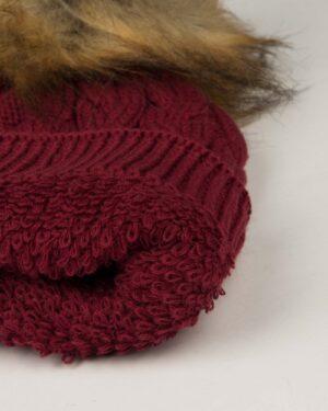 کلاه و شال گردن و دستکش بافت ساده بچه گانه - شرابی - کلاه