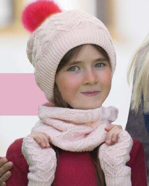 کلاه و شال گردن و دستکش بافت ساده بچه گانه - صورتی - دخترانه مدل