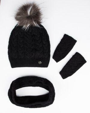 کلاه و شال گردن و دستکش بافت ساده بچه گانه - مشکی - رو به رو