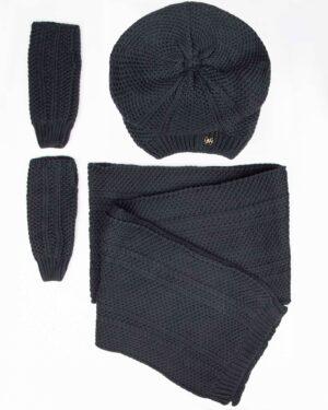 کلاه کج و شال گردن بافتنی و دستپوش - دودی تیره - رو به رو