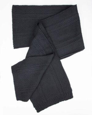 کلاه کج و شال گردن بافتنی و دستپوش - دودی تیره - شال بافت