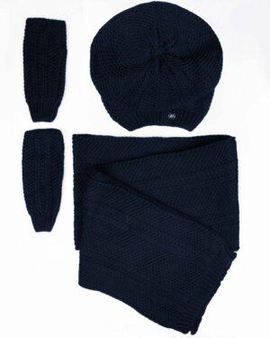 کلاه کج و شال گردن بافتنی و دستپوش - سرمه ای تیره - رو به رو