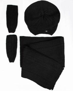 کلاه کج و شال گردن بافتنی و دستپوش - مشکی - رو به رو