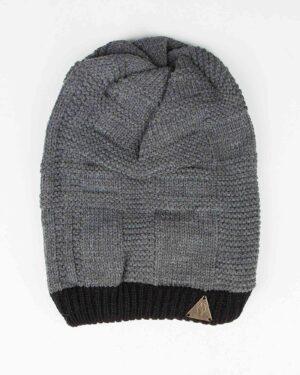 کلاه گردنی بافت - خاکستری - رو به رو