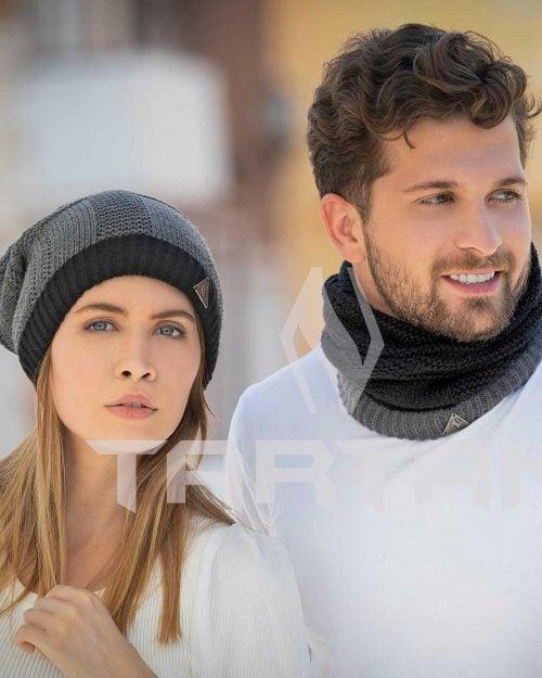 کلاه گردنی بافت - مشکی - مردانه