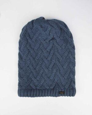 کلاه گردنی ساده بافتنی - آبی تیره - رو به رو