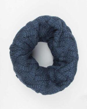 کلاه گردنی ساده بافتنی - آبی تیره - شال گردن رینگی