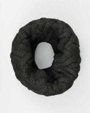 کلاه گردنی ساده بافتنی - دودی - شال گردن رینگی