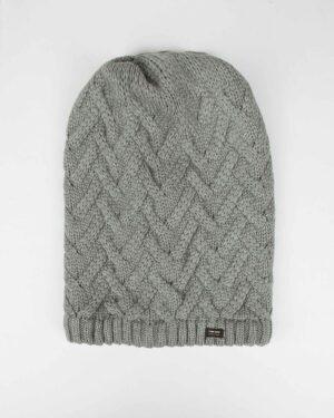 کلاه گردنی ساده بافتنی - طوسی - رو به رو