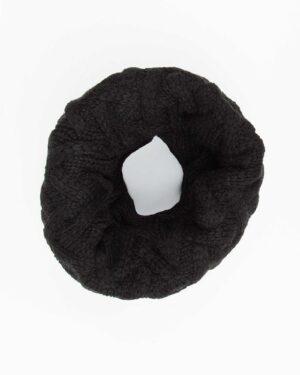کلاه گردنی ساده بافتنی - مشکی - شال گردن رینگی