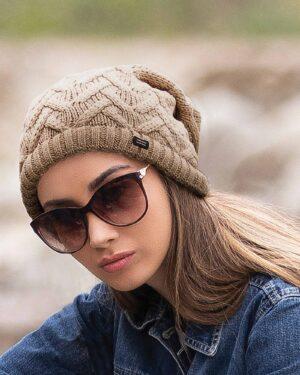 کلاه گردنی ساده بافتنی - کرمی - زنانه