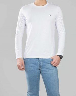 بلوز مردانه آستین بلند ساده- سفید- رو به رو