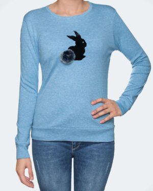 تیشرت آستین بلند دخترانه با طرح خرگوش خزدار- آبی روشن- رو به رو
