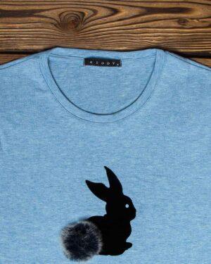 تیشرت آستین بلند دخترانه با طرح خرگوش خزدار- آبی روشن- یقه