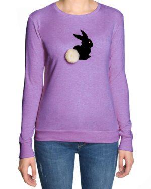 تیشرت آستین بلند دخترانه با طرح خرگوش خزدار- بنفش- رو به رو