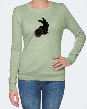 تیشرت آستین بلند دخترانه با طرح خرگوش خزدار- زیتونی- رو به رو