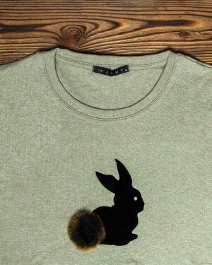 تیشرت آستین بلند دخترانه با طرح خرگوش خزدار- زیتونی- یقه