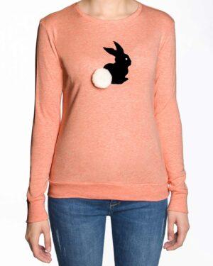 تیشرت آستین بلند دخترانه با طرح خرگوش خزدار- هلویی سیر- رو به رو