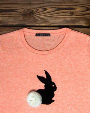 تیشرت آستین بلند دخترانه با طرح خرگوش خزدار- هلویی سیر- یقه