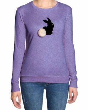 تیشرت آستین بلند دخترانه با طرح خرگوش خزدار- یاسی- رو به رو