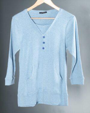 تیشرت آستین بلند دکمه دار زنانه - آبی روشن - رو به رو