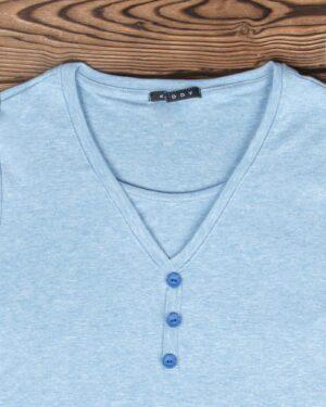 تیشرت آستین بلند دکمه دار زنانه - آبی روشن - یقه و دکمه