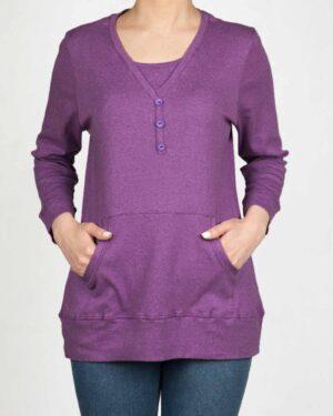 تیشرت آستین بلند دکمه دار زنانه - بنفش -محیطی
