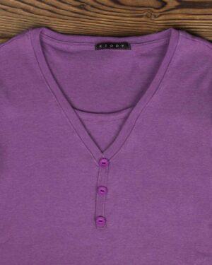 تیشرت آستین بلند دکمه دار زنانه - بنفش - یقه و دکمه