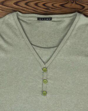 تیشرت آستین بلند دکمه دار زنانه - زیتونی - یقه و دکمه