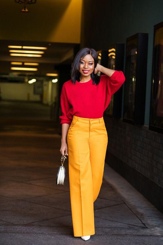 شلوار زرد خردلی و بالاپوش قرمز رنگ موهای مشکی کوتاه اصول ست کردن رنگ قرمز