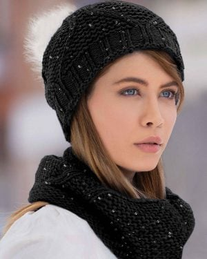 ست کلاه شال گردن رینگی پولک دار زنانه - دودی تیره - دخترانه