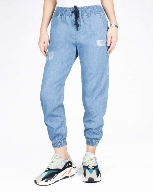 شلوار جین کاغذی زاپ دار کمر کش - آبی روشن - رو به رو
