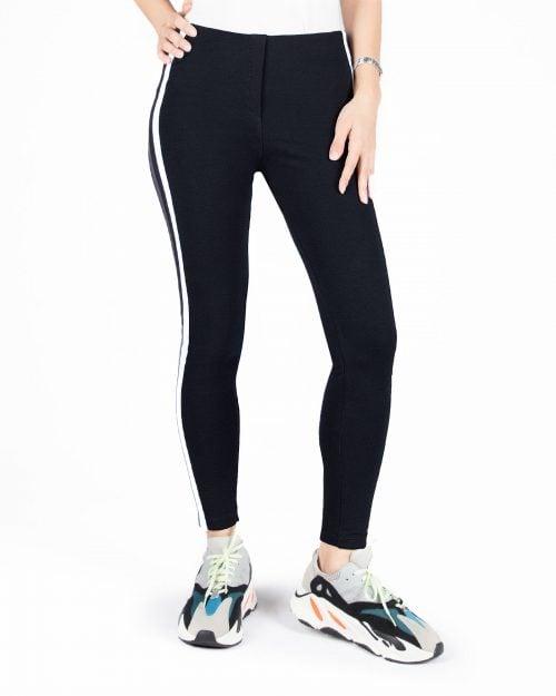لگ ورزشی زنانه دو خط- مشکی- رو به رو