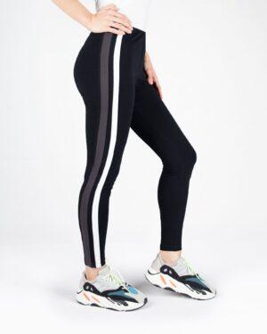 لگ ورزشی زنانه دو خط- مشکی- نیم رخ