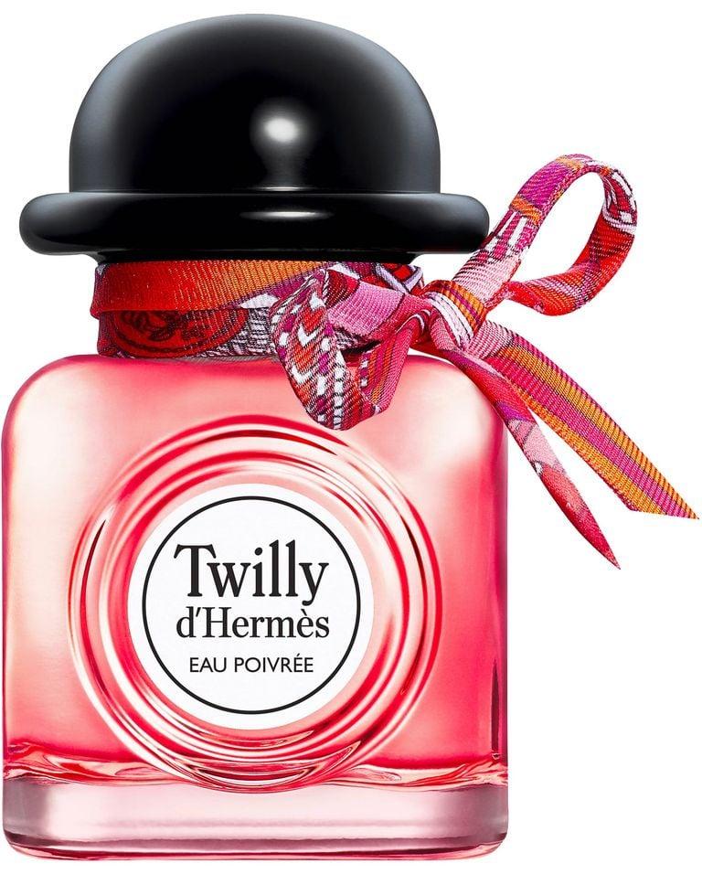عطر زمستانی و بهاری هرمس با روبان رنگی و در مشکی و شیشه قرمز رنگ