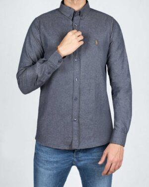 پیراهن مردانه طرح پولو-خاکستری تیره- رو به رو