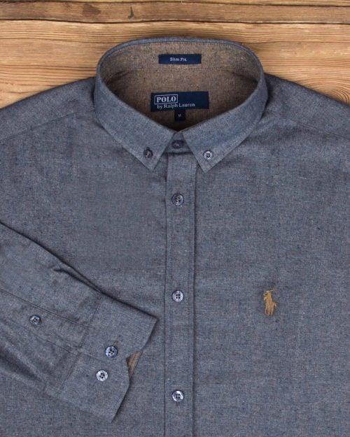 پیراهن مردانه طرح پولو-خاکستری تیره- طرح پولو و یقه