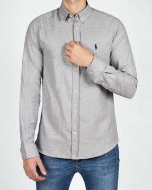 پیراهن مردانه طرح پولو-خاکستری محو- رو به رو