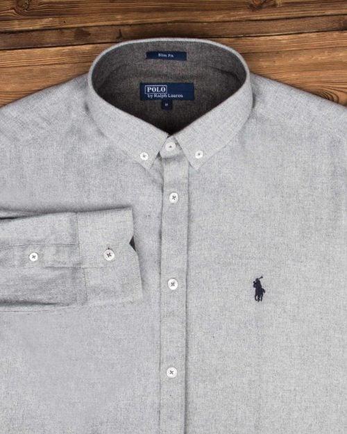 پیراهن مردانه طرح پولو-خاکستری محو- طرح پولو و یقه مردانه