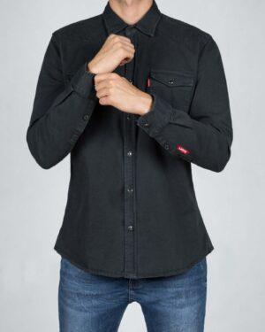 پیراهن مردانه کتان آستین بلند - سربی تیره - رو به رو