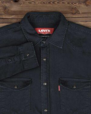 پیراهن مردانه کتان آستین بلند - سربی تیره - یقه مردانه و جیب ها